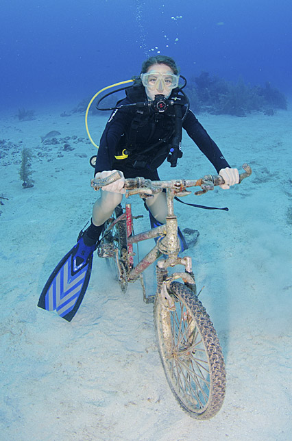 riding a bike while diving