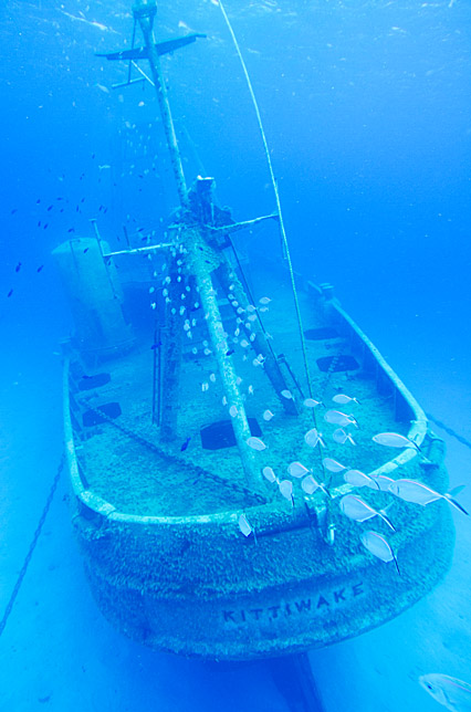 dive through sunken ship in cayman